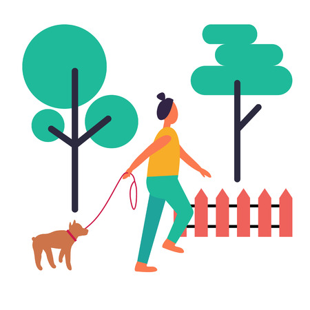 Adult Woman Walking Her Dog Isolated Illustration 일러스트