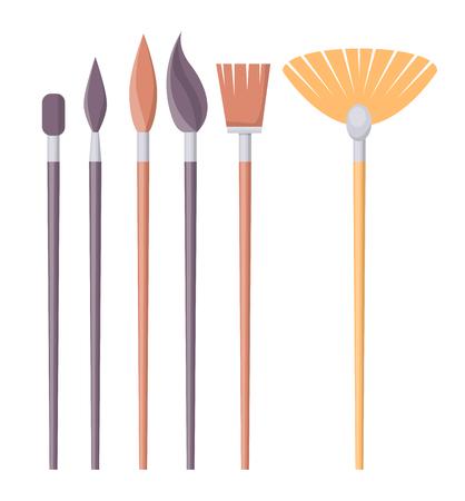 Set di pennelli di forme diverse isolato Archivio Fotografico - 91101836