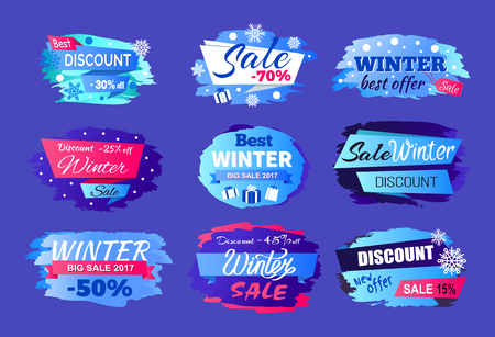 Winter Discount Best Offer Vector Illustration Set Vettoriali
