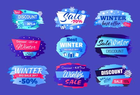 Winter Discount Best Offer Vector Illustration Set Illustration