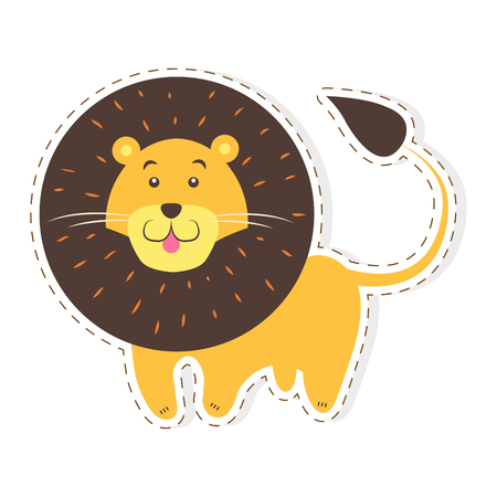 Cute Lion Cartoon Flat Vector Sticker or Icon