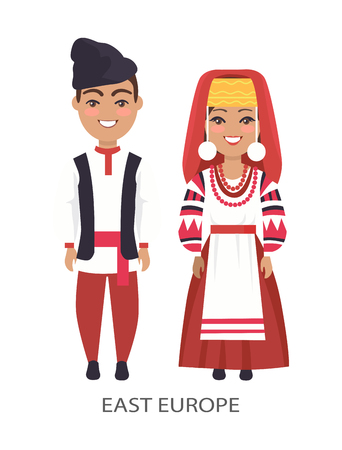 East Europe Costumes on Vector Illustration White Stock Vector - 91046877