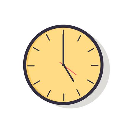 Gele klok geïsoleerd op vectorillustratie Stock Illustratie