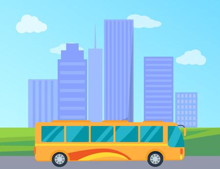 Public Bus in City Colorful Vector Illustration Banco de Imagens