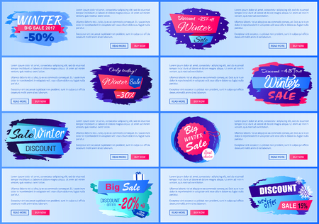 Web Online Layouts Winter Posters Offer Discounts Stock Vector - 91045259