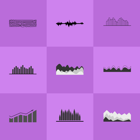 Collection of Different Charts Vector Illustration Stock Photo