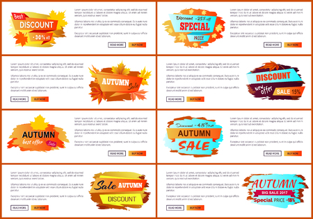 Info Labels with Signs Price Reduction Autumn Fall