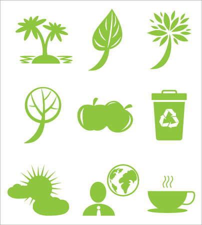 Ecology protection themed icons set. Greening planting and recycling agitation isolated vector illustrations on white background. 版權商用圖片 - 91048153