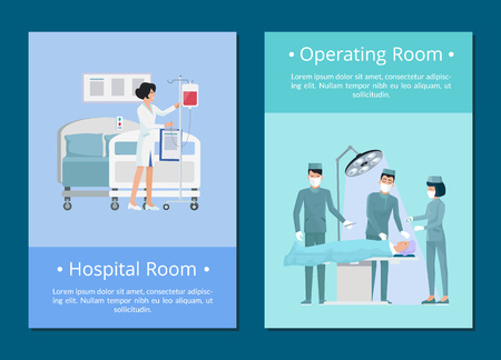 Hospital and operating room, nurse preparing room for patient and surgeons doing a procedure to ill person vector illustration isolated on blue Иллюстрация