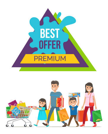 Best offer premium price colorful poster with happy smiling extended family and shopping bags on white background. Vector illustration discount advert Illustration