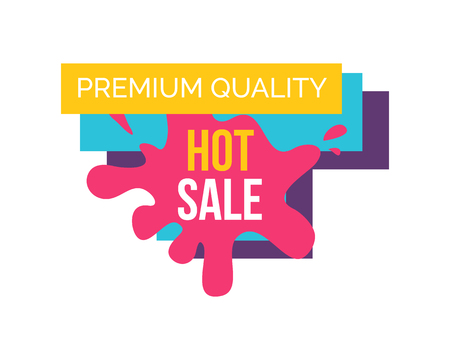 Premium quality hot sale, promo banner with label consisting of pink blot, yellow ribbon and text, represented on vector illustration