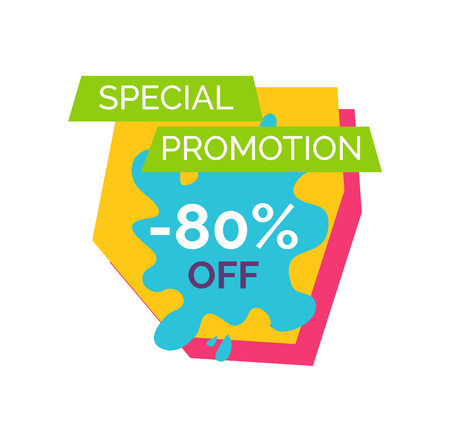 Special promotion -80 off, sticker that contains headline written in green ribbon and text in geometric shape on vector illustration