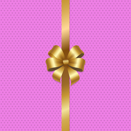 Tied gold bow with ribbon in center of vector illustration isolated on pink background with dots. Decorative element for wrapping paper, gift card