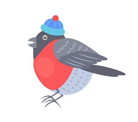Bullfinch in knitted hat with red bubo icon isolated on white background. Vector illustration with beautiful bird in warm winter clothes