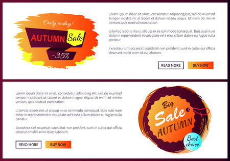 Autumn sale best offer discounts - 35 off only today premium choice set of vector posters with text online web pages with fall hanging labels