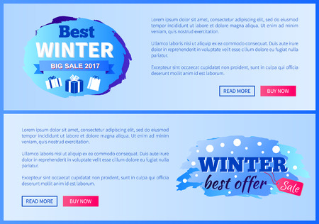 Best winter big sale 2017 vector illustration landing pages design with place for ext informing about reduction of prices, shopping labels with gifts Ilustracja