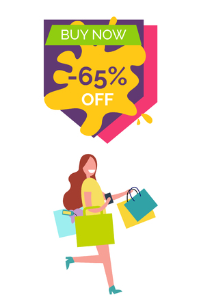 Buy now -65% off, image with lady dressed in yellow shirt, smiling and running somewhere with bags vector illustration isolated on white