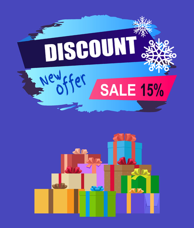 New offer discount - 15 winter 2017 sale vector banner with advert label and mountain of gift boxes isolated on blue background, wrapped presents 向量圖像