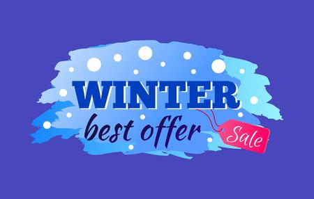 Beste Angebotanzeige des Winterschlussverkaufs mit dem eisigen bunten Zeichen lokalisiert auf blauem Hintergrund. Vektor-Illustration mit saisonaler Rabattaktion Standard-Bild - 91097904