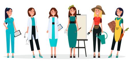 Berufe der Frauen sechs Charaktere getrennt auf Weiß. Vector Illustration von Doktoren, von weiblichem Künstler, von Gärtner und von Hausfrau im Schutzblech Standard-Bild - 91097246
