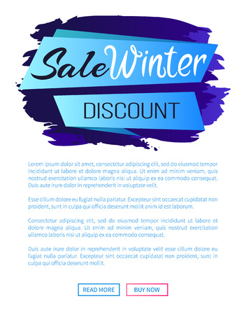 Sale winter discount inscription on blue ribbon on abstract brush strokes backdrop vector illustration internet page design with place for text Illustration