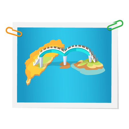 Taiwanese bridge on isolated picture on white. Vector colorful illustration in flat design of photograph with construction in round shape connecting two islands. Sightseeings in Taiwan concept