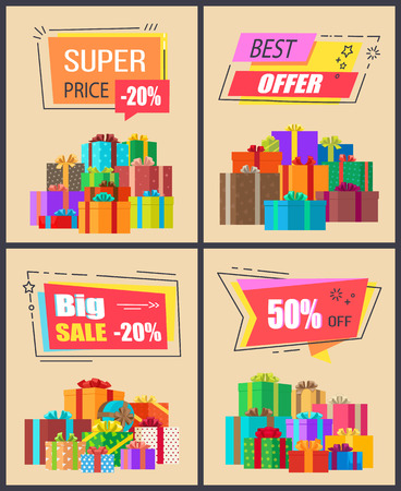 Super price -20 best offer and mega sale, collection of posters with images of various presents with ribbons and headline above vector illustration