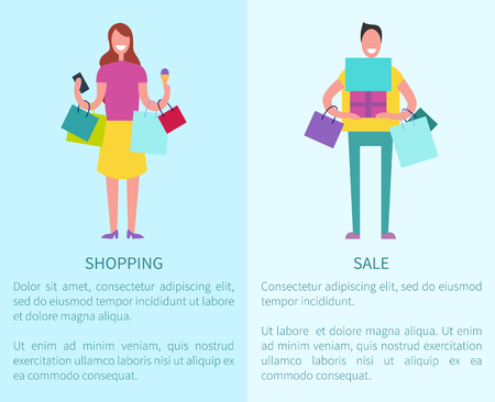 Shopping and sale two posters depicting young beautiful lady holding her bags and man with gifts, there is text sample vector illustration