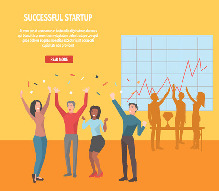 Internet page with full information about successful startup concept. Cartoon office employee characters celebrate success vector illustration. Instructions that lead to stated business goal.