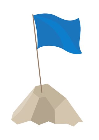 Flag with long pole and blue cloth on top of it, standing in high mountain, waving because of wind vector illustration isolated on white