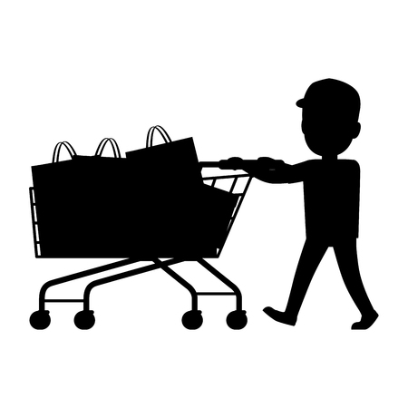 Boy push cart full of purchases on white background. Black and white silhouette of boy and cart isolated vector illustration. Cartoon boy has fun during shopping. Collection of family members.