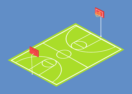 School stadium three dimensional vector illustration with basketball field isolated on blue background. Sportsground with baskets and green grass
