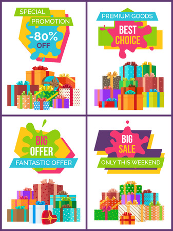 Special promotion and best choice, big and fantastic offer only this weekend, posters with decorated presents vector illustration isolated on white 向量圖像