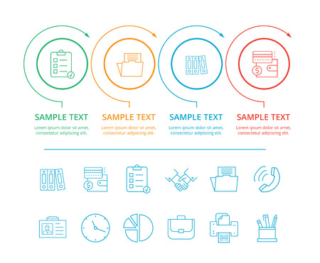 Infographics of different colors presenting icons of papers, documents and wallet in circled frames, and text sample belov on vector illustration Illustration