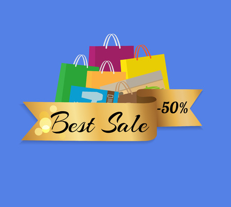 Best sale 50 half price shopping bags colorful set isolated on blue background vector illustration. Packages with handles for presents and gifts Illustration