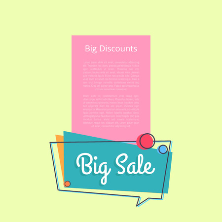 Big sale discounts promotional banner with place for text, inscription in speech bubble vector illustration isolated on yellow with place for text