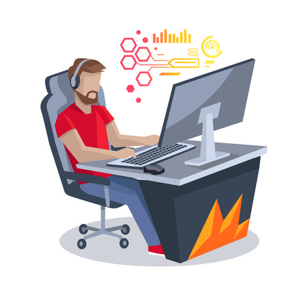 Gamer in Front of Computer Vector Illustration Illustration