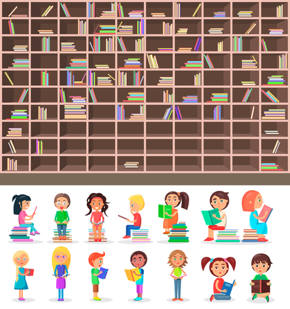 Big library wooden half-full bookcase and isolated smart children who read and learn with interest vector illustrations set.
