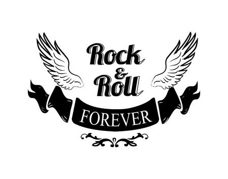 Rock n roll per sempre, titolo scritto in nastro nero posto sotto l'icona delle ali rappresentate sull'illustrazione di vettore isolata su bianco Archivio Fotografico - 91103660