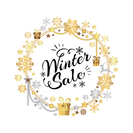 Winter sale poster in decorative frame made of silver and gold snowflakes, snowballs in xmas border, presents and gifts isolated on white vector 向量圖像