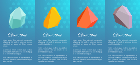 Gemstones collection of posters that consist images of stones and information on them placed below icons, vector illustration isolated on blue