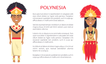 Polynesia couple wearing traditional clothes with feathers and hats, vector international day poster ethnic people with text, native polynesians