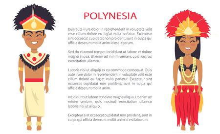 Pareja de polinesia vistiendo ropas tradicionales con plumas y sombreros, vector personas de cartel internacional día étnico con texto, polinesios nativos