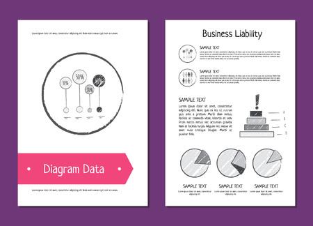 Diagramgegevens en bedrijfsaansprakelijkheid Illustratie. Stock Illustratie