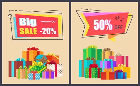 Big sale advertisement with discount values on colorful signs. Vector illustration special offer banners decorated with gift boxes and bows collection