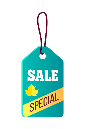 Sale special blue sticker with hole in it and lace, text sample, ribbon and icon of yellow maple on vector illustration isolated on white