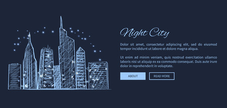 Night city web page representing hight building and glowing lights, picture with text sample and buttons on it vector illustration