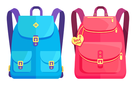 Rucksacks for boys and girls in pink and blue colors with big pockets and metal fasteners vector illustration isolated on white Illustration