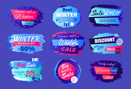 New offer discounts big winter sale 2017 collection of advertising labels with information about prices off vector tags seasonal set isolated on blue