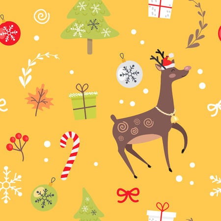 Seamless Pattern with Reindeer, Christmas Candies